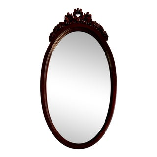 Antique Victorian Lexington Hand Carved Mahogany Oval Mirror For Sale