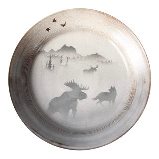 Norby Studio Mountain Scene Pottery Plate Circa 1986 For Sale