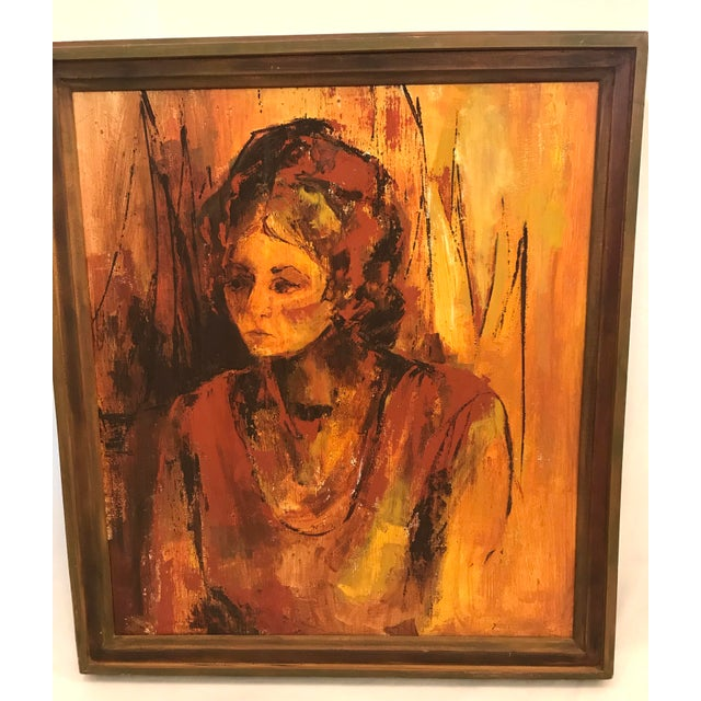 Mid-Century Modern Mid-Century Original Portrait of a Woman Painting For Sale - Image 3 of 13