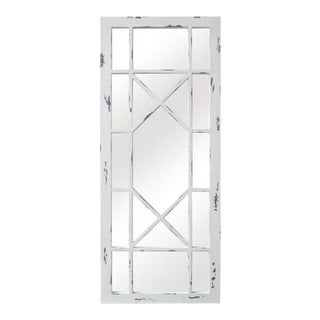 Jardin Distressed White Solid Wood Window Pane Accent Mirror For Sale