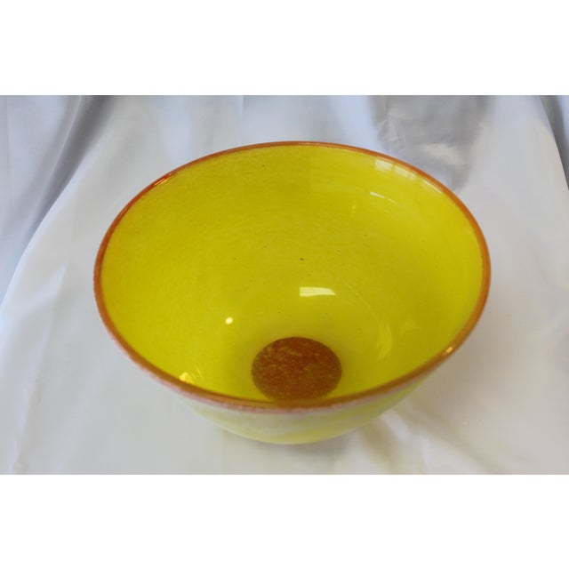 Italian Vintage Frosted Murano Glass Bowl For Sale - Image 3 of 5