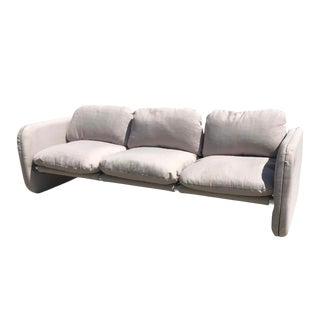 1980s Vintage Milo Baughman Style Tubular Chrome Sling Three-Seater Sofa For Sale