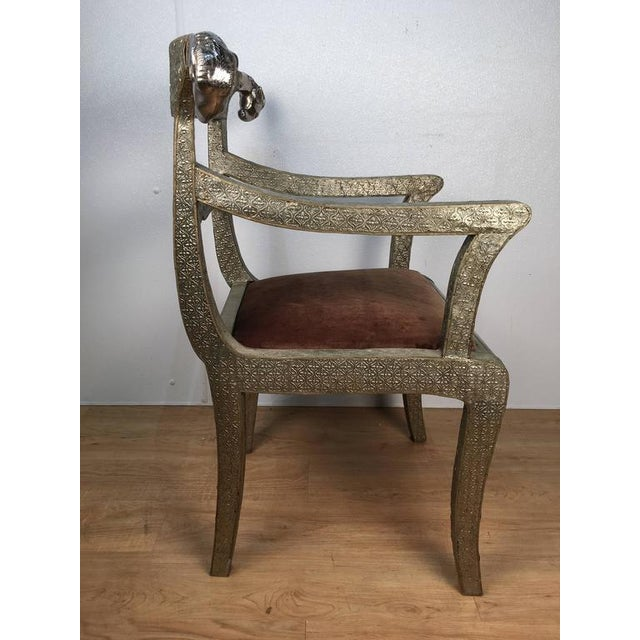 Anglo-Indian Anglo-Indian Ram's Head Armchair For Sale - Image 3 of 7