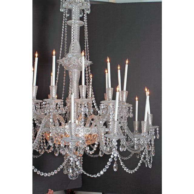 Georgian A Pair of Large Scale Majestic 24-Light Cut-Crystal Chandeliers For Sale - Image 3 of 12