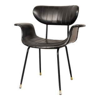 Mid-Century Rosewood and Black Leatherette Italian Side Chair, 1960s For Sale