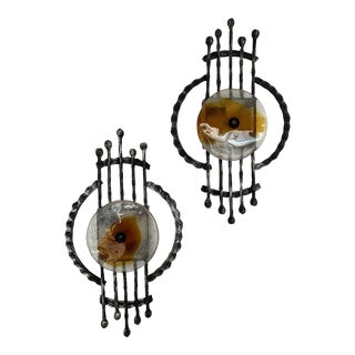 Pair of Brutalist Sconces Iron Murano Glass by Ahlstrom and Ehrich, 1970s For Sale