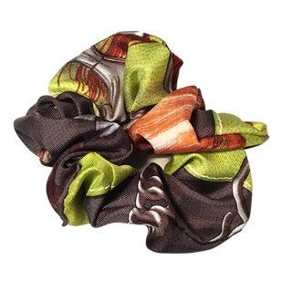 Hermes Handmade Vintage Silk Scarf Scrunchie in Green and Dark Gray For Sale