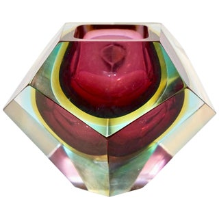 Italian 1950s Vintage Large Red Yellow Aqua Diamond Cut Modern Bowl / Centerpiece For Sale