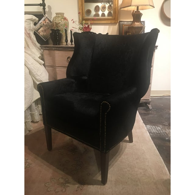 2010s Serengeti Black Leather Hyde Chair For Sale - Image 5 of 11
