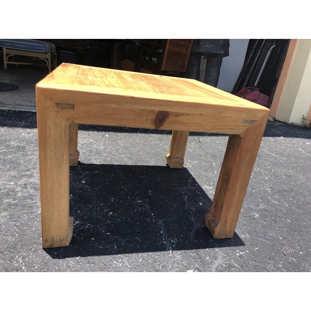 Early 21st Century Ming Natural Elm Side Table For Sale - Image 5 of 6