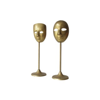 Brass Mask Figurine - A Pair For Sale
