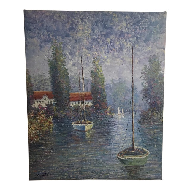 Vintage Sailing Boats on the Lake Oil on Canvas Painting For Sale