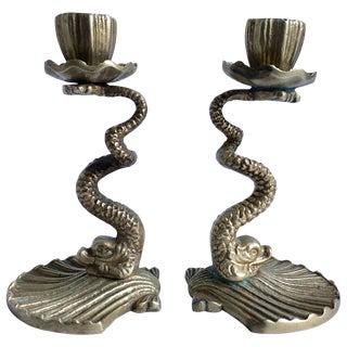 Arthur Court Brass Serpent Candlesticks, 1979 For Sale