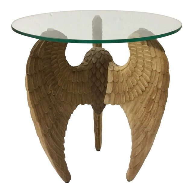 Organic Modern Carved Wood Gabrielle Side Table For Sale