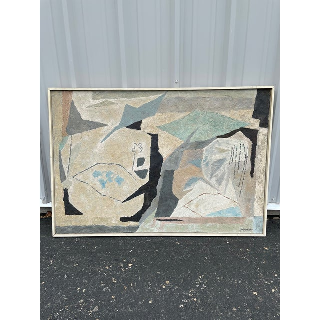 Mid-Century Modern Abstract in Soft Gray Black and Blue For Sale - Image 9 of 12