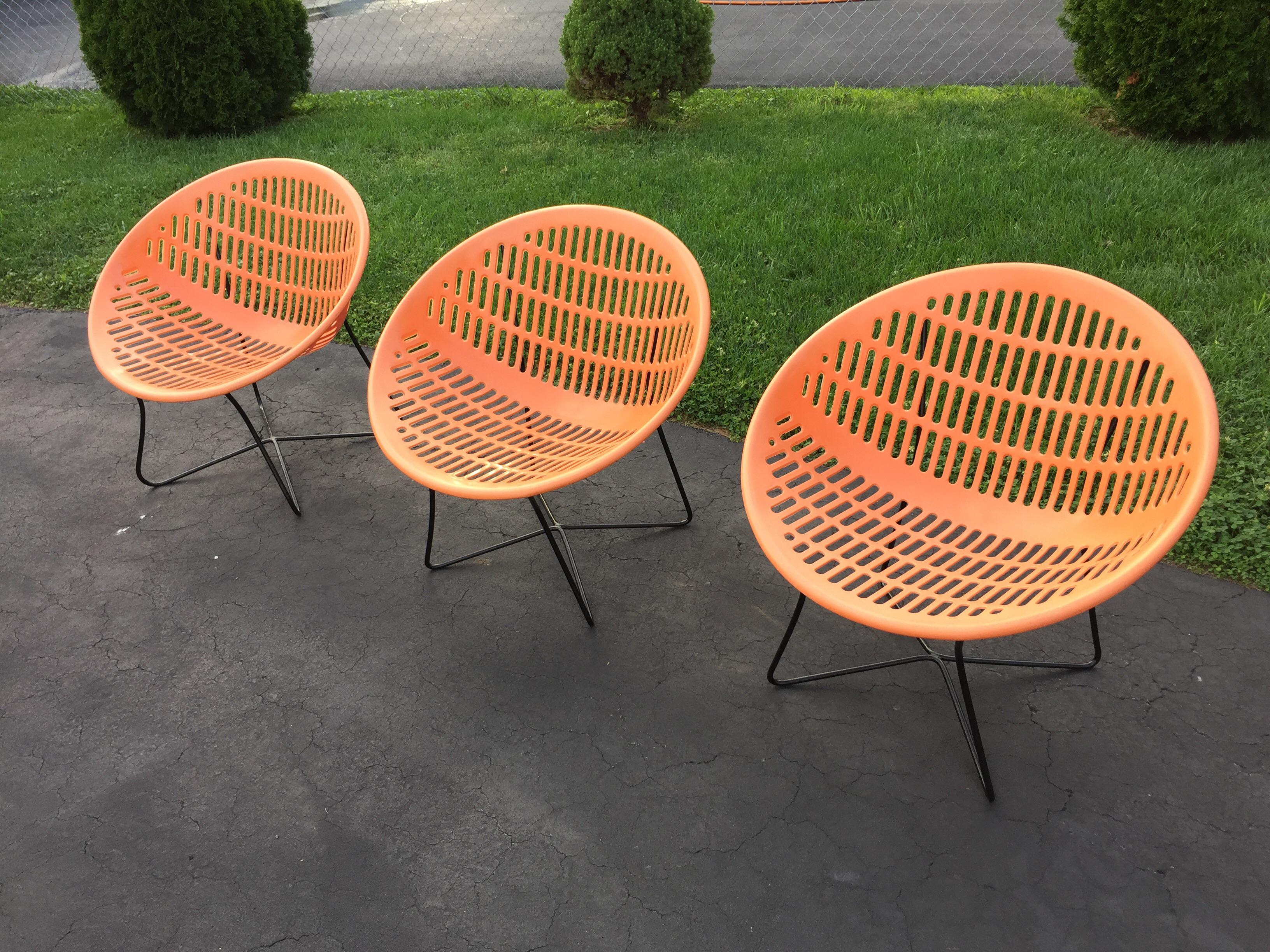 Solair Orange Pool Motel Lounge Chairs   Set Of 3   Image 2 Of 10