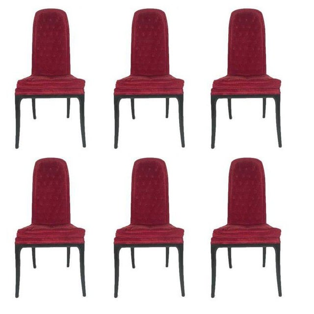 1960s Vintage Original High Back Tufted Erwin-Lambeth for Tomlinson Armchairs- Set of 6 For Sale - Image 9 of 9
