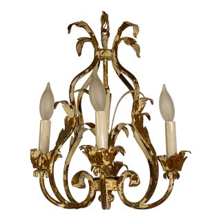Vintage Mid 20th Century Shabby Chic White Painted With Gold Washed Four-Arm Chandelier For Sale