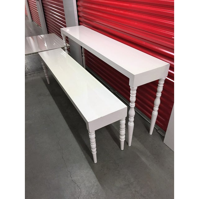 White Lacquer Hallway Tables - A Pair - Image 4 of 7