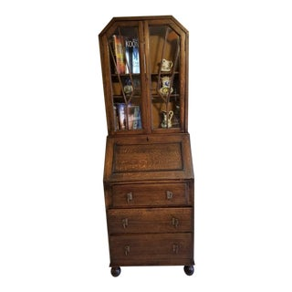 1940s Traditional Oak Secretary For Sale