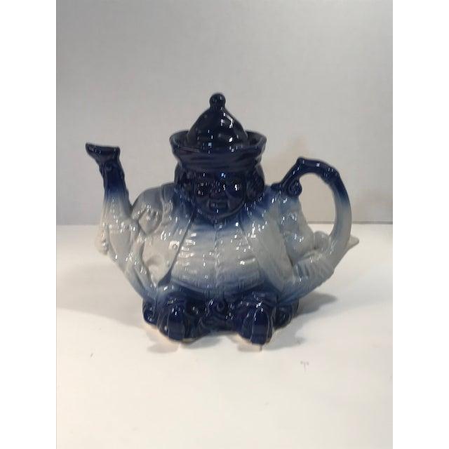 Victorian Antique Victorian Staffordshire Parliament Judge Flow Blue Toby Teapot For Sale - Image 3 of 8