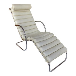 Mid-Century Modern White Channeled Leather Cushion & Chrome Frame Chaise For Sale