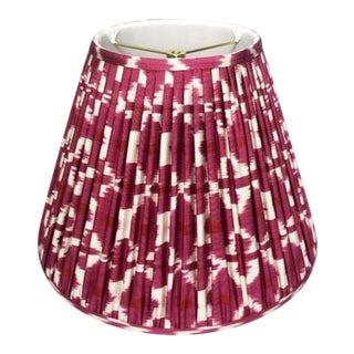 "Slightly East Emira Pink-Red Hand-Shirred Empire Lampshade 18"" For Sale"