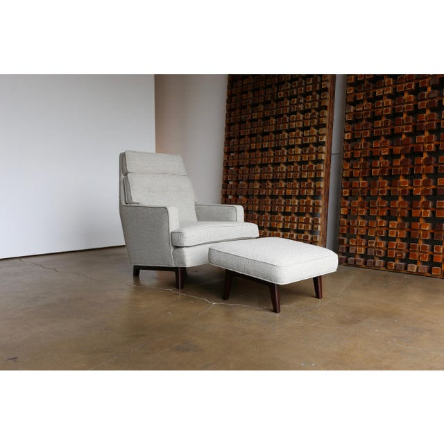 Gray Mid 20th Century Edward Wormley for Dunbar Lounge Chair and Ottoman - a Pair For Sale - Image 8 of 12