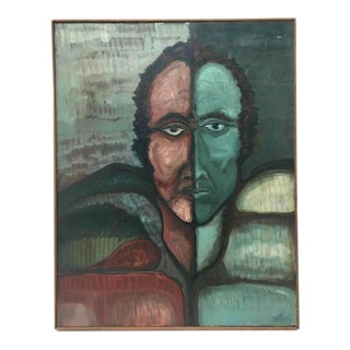 1978 Abstract Figurative Male Red and Green Portrait Painting by S. M. Fey, Framed For Sale