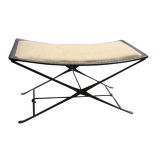 Modern Burlap Folding Bench For Sale