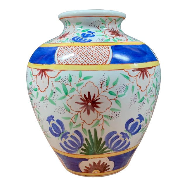 Vintage Chinese Porcelain Colorful Hand Painted Floral Vase For Sale