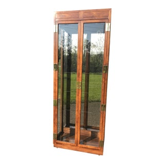 Oak and Glass Display Cabinet by Henredon For Sale