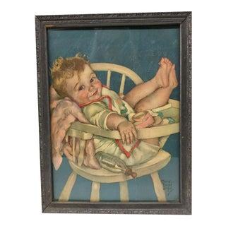 Vintage Framed Baby Print For Sale