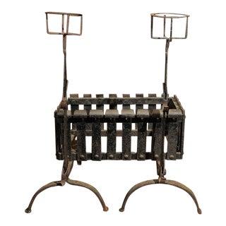 1880 English Iron Firedogs With Log Basket For Sale
