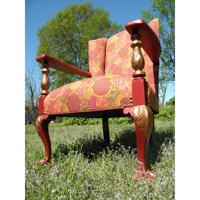 1910s 1910s Antique Chippendale Period Ball and Claw Upholstered Wingback Chair For Sale - Image 5 of 8