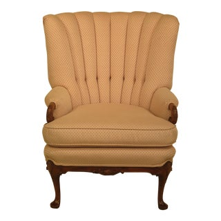 Vintage 1950's Carved Mahogany Channel Back Wing Chair For Sale