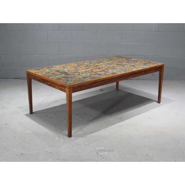 1960s Danish Modern Rosewood and Tile Coffee Table For Sale - Image 10 of 10
