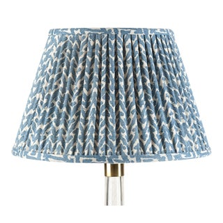 Fermoie Gathered Cotton Lampshade in Blue Rabanna, 18 Inch For Sale