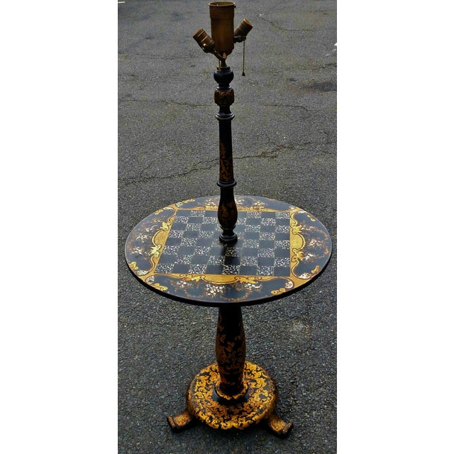 Antique ENGLISH Black Laquered PAPER MACHE Mother of Pearl LAMP TABLE Chess For Sale - Image 10 of 10