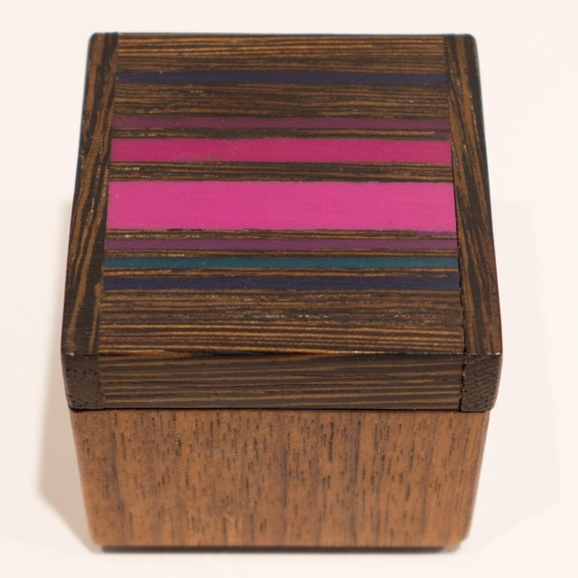 Modern Robert McKeown Stamp Box with Stripes For Sale - Image 3 of 8