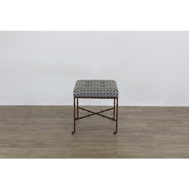 Hollywood Regency Pair of Mid-Century Metal Benches With Blue Cushions Tops For Sale - Image 3 of 8