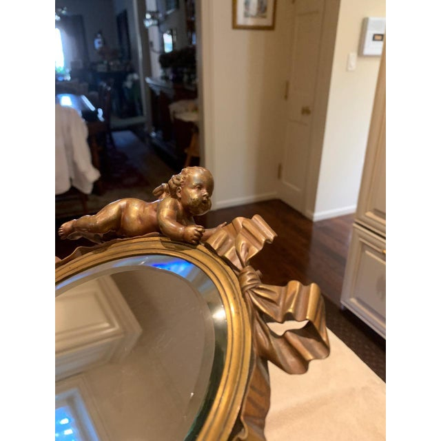 Art Nouveau Mirror With Bronze Putti Cherubs For Sale In New York - Image 6 of 9