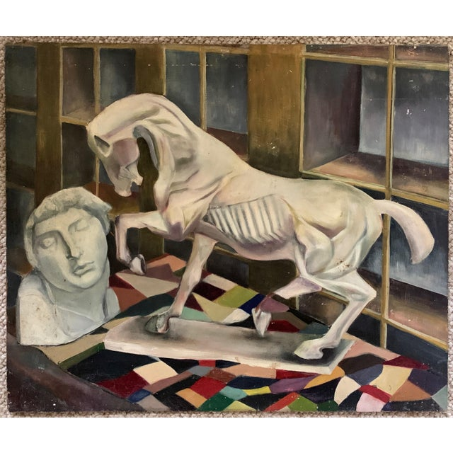 1940s Vintage Horse Bust Still Life Oil Painting For Sale - Image 11 of 11