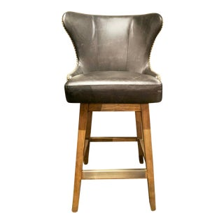 Swivel Bar Stool Upholstered in Gray Leather and Fabric For Sale