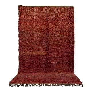"Vintage Moroccan Berber Large Red Wool Floor Rug - 6'6"" X 10'7"" For Sale"