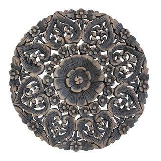 Burmese Carved Panel in Antique Burn For Sale