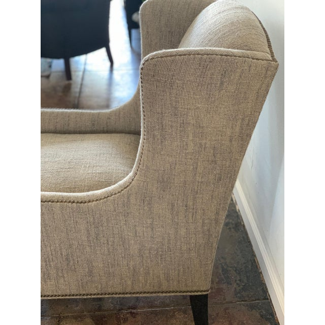 Tan 1960s Vintage Mark Alexander Linen Fabric Wingback Chair For Sale - Image 8 of 9
