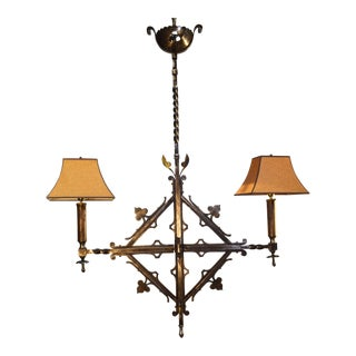 Antique Chandelier With Shades For Sale