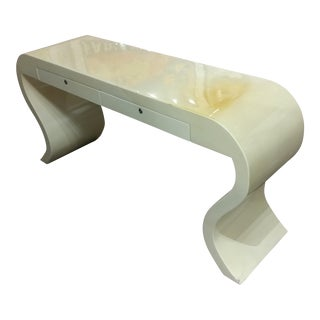 Karl Springer Style Lacquered Goat Skin Console Table For Sale