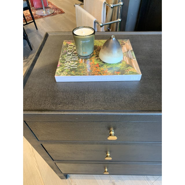 Contemporary Faux Linen Dresser in Black For Sale - Image 12 of 13